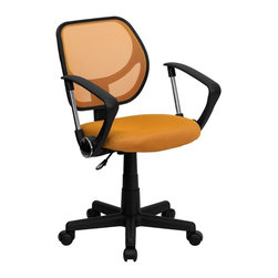 Flash Furniture - Computer Upholstered Task Chair w Casters - 2 in. thick padded seat with mesh upholstery. Standard swivel chair mechanism. Pneumatic seat height adjustment. Black nylon base. Dual wheel casters. Warranty: 2 year limited. Assembly required. Back: 16 in. W x 16 in. H. Seat: 17.5 in. W x 16.25 in. D. Seat Height: 15.5 - 19.5 in.. Arm Height from Floor: 23.5 - 27.5 in.. Arm Height from Seat: 8.5 in.. Overall: 22.5 in. W x 21.5 in. D x 30.5 - 34.5 in. H (36 lbs.)