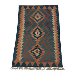 Kilim Rugs - Blue Kilim.  Kilim Rugs are amazing accent pieces - they fold up discreetly and are decoratively versatile.  Slung over the back of a couch, folded atop an ottoman as a blanket.  Excellent throw rugs and scatter rugs.  Beautiful pieces!