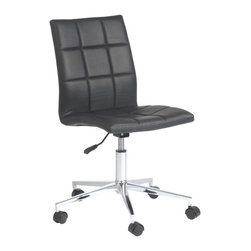 Eurostyle - Eurostyle Cyd Adjustable Height Swivel Office Chair in Black - Adjustable Height Swivel Office Chair in Black belongs to Cyd Collection by Eurostyle The Cyd Armless Chair represents the future of modern chair design with its innovative style and progressive seating concept. Featuring a chromed steel frame with a quilted leatherette seat and back available in 2 different color options including black and white. These features combined with the polished aluminum base, along with staple features such as swivel and gas lift height adjustment make the Armless Cyd Low Back a great modern seating choice for conference rooms and offices alike! Office Chair (1)