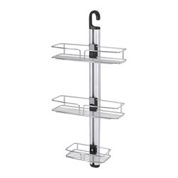 ORE International - Modern Bathroom Shower Wall Mount Rack - This original modern and simple bathroom rack is designed to expand bathroom capacity, holding soaps, shampoo and other hygienic products. This model comes with three uniquely design racks with adjustable height for better organization and practicality . This sleek and attractive design is reinforced with stylish sturdy wall mounts, while the small and compact size made this item great for all showers. Made with durable and stainless steel chrome finished that never goes out of style. 12 in. W x 5 in. D x 27 in. H (3 lbs.)