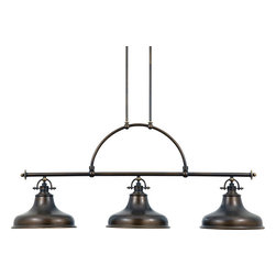 """Quoizel - Quoizel ER353PN Palladian Bronze Emery Three Light Down Lighting - This metal-shaded fixture is an elegant nod to the pastThe classic Americana styling adds a nostalgic flair to your homeWhen hung over a kitchen island or dinette table it provides ample lighting for all your daily tasksThree light down lighting island / billiard fixtureRequires 3 100w Medium base bulbs (not included)Includes 12 feet of wireCanopy dimensions: 9"""" high, 4.5"""" wide Installation InformationFixture includes 12 Feet of chord for easy installation at varying hanging heightIncludes two 6 inch and two 12 inch stems for installation at varying hanging heightCeiling Canopy Measures 9"""" x 4.5"""""""