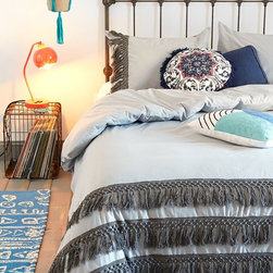 Magical Thinking Tassel Duvet Cover, Gray - Tassels are a decorator's friend. They bring personality to a room, especially a bedroom.