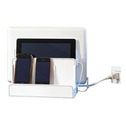 Great Useful Stuff - White Leatherette Multi Charging Station - Organize that desk once and for all, and with very little effort at that! This clever organizing station allows room for all your devices and — isn't this thoughtful — even has room for all those unsightly cords so you can charge your goodies while they aren't in use! It's a must-have and a great gift for techies.