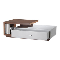 La Viola Decor - Quatro Contemporary Coffee Table - Simple, tasteful, modest and chic - this Quatro rectangular coffee table offers the stylish chic flavor of modern art with the comfort of convenience for the contemporary home. Easily style or decorate - the unified modest color schemes are accommodating and fit in with most styles. Also  Quatro's  drawer built with soft-closing mechanism is designed to store and de-clutter.