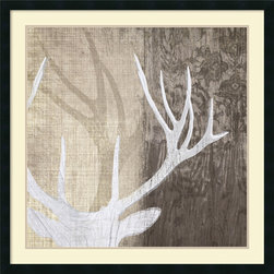 Amanti Art - Tandi Venter 'Deer Lodge II' Framed Art Print 34 x 34-inch - In this clever alternative to taxidermy, Deer Lodge II by Tandi Venter is a fresh approach to mounted antlers and stuffed heads.