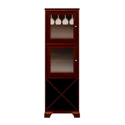 Howard Miller Custom - Lily Cabinet w 2 Doors in Newport Cherry - This cabinet is finished in Newport Cherry on select Hardwoods and Veneers, with Nickel hardware. 2 doors with plain Glass. 1 storage shelf. 1 adjustable interior self and 1 stemware rack. Flat profile top and cove profile base. Hardware: knobs on doors. Features soft-close doors and metal shelf clips. 24 1/2 in. W x 15 3/4 in. D x 76 1/2 in. H