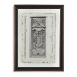 Bassett Mirror - Bassett Mirror Framed Under Glass Art, Motifs Historiques III - The third of the Motifs Historiques, this piece features a grayscale image of a historical motif in architecture. Made to look distressed, as if the edges of the page had been singed with fire and browned with age, this beautiful piece in a true ode to history. Beneath glass in an understated brown frame, the image seems to float above its background.