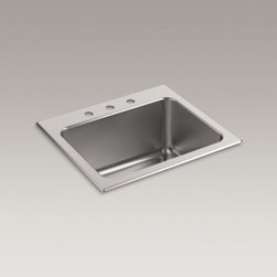 """KOHLER - KOHLER Ballad(TM) 25"""" x 22"""" x 11-5/8"""" top-mount utility sink with 3 faucet holes - With a deep 11-5/8-inch basin, this Ballad stainless-steel utility sink is an ideal multifunctional workstation for your kitchen, bar, or laundry area. An engineered sound-absorption system significantly reduces disposal and dishwashing noise, as well as condensation underneath the sink in high-humidity environments."""