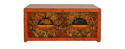 Golden Lotus - Big Tibetan Antique Animal Painting Storage Trunk Coffee Table - Look at this Tibetan antique wooden trunk which is made of solid elm wood.  It is much bigger than regular storage trunk, and it can used as a storage side cabinet or even used as long coffee table.