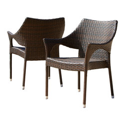 Great Deal Furniture - Del Mar Outdoor Brown Wicker Chairs (Set of 2) - The Del Mar outdoor wicker chair comes in a set of two allowing you and your guest to comfortably relax outdoors. Made of sturdy powder coated steel frame with PE wicker, these seats are sure to withstand the outdoor elements.