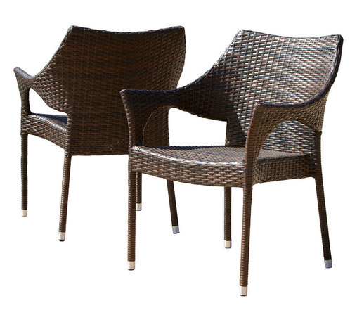 Great Deal Furniture - Del Mar Outdoor Brown Wicker Chairs (Set of 2) - The Del Mar outdoor wicker chair comes in a set of two allowing you and your guest to comfortably relax outdoors. Made of