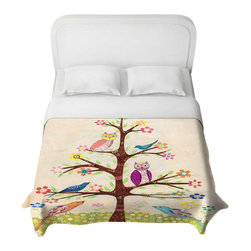 DiaNoche Designs - Owl Bird Tree 2 Duvet Cover - Lightweight and super soft brushed twill Duvet Cover sizes Twin, Queen, King.  Cotton Poly blend.  Ties in each corner to secure insert. Blanket insert or comforter slides comfortably into Duvet cover with zipper closure to hold blanket inside.  Blanket not Included. Dye Sublimation printing adheres the ink to the material for long life and durability. Printed top, khaki colored bottom, Machine Washable, Product may vary slightly from image.