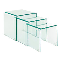 Cascade Coffee Table - Flow forth with existential leaps in a three-fold process of discovery. The Cascade Glass Nesting Table Set signifies an exhibition that takes you and your acquaintances into the realm of exponential growth. Convenient and stylish, add a motivating force to your decor with these compact and tuck-away tables.