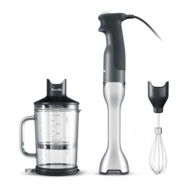 Breville - Breville The Control Grip Immersion Blender - Stainless - Ready for a kitchen gadget that actually works? Try this immersion blender set. The handheld stick has a bell-shaped blending base and ribbing that reduces the suction you get from other hand blenders. And it includes adjustable speeds, an ergonomic grip, a whisk attachment and a chopping bowl.