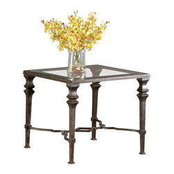 Bassett Mirror - Lido Square End Table - Traditional Style in Burnished Bronze Finish on Metal. Measures: 28 in. W x 28 in. D x 25 in. H. Part of the Lido Collection.