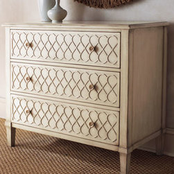 Horchow - Infinity Scroll Chest - Handcrafted, hand-painted chest provides plenty of visual interest with a carved design on the drawer fronts while the three drawers provide the storage you need. Aged taupe finish is distressed, giving the piece an antique appearance. Crafted of hardwo...