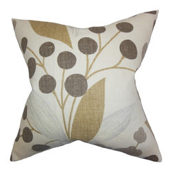"The Pillow Collection - Geneen Floral Pillow Raffia 18"" x 18"" - Plant a few pieces of this throw pillow to your home. This accent pillow allows you to add a playful vibe to your interiors. This toss pillow highlights a subtle floral pattern in shades of brown, gray and white. This 18"" pillow suits most furniture pieces, including your sofa, bed or chair. Constructed using 100% linen fabric and made in the US."