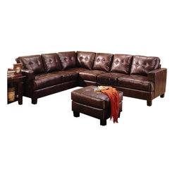 Coaster - Coaster Samuel 4 Piece Leather Sectional Sofa in Chocolate - Coaster - Sectionals - 500911+ACKIT - This sleek contemporary bonded leather sectional sofa will give your living room a sophisticated style. The plush high tufted look back cushions and deep seat cushions will keep you cozy offering enough space the whole family to lounge. Wide track arms and square tapered wood feet complete this modern look. This comfortable contemporary sectional sofa is sure to blend beautifully with your decor for a warm and inviting look that everyone can enjoy.