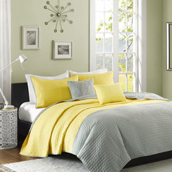 JLA Home - Yellow & Gray Intelligent Design Jordan Coverlet Set - Bold blocks of color and neat lines give this blanket that modern look you've been searching for. Be contemporary and comfy with its soft, warm cotton fill.   Includes coverlet, two decorative pillows and two shams (twin size includes one sham) Coverlet face: polyester peach skin Coverlet reverse: brushed polyester Coverlet fill: cotton Imported