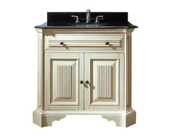 Avanity - Kingswood Vanity Only - Old world, meet new world. This vanity has a distressed finish and fluted details to give it an antiqued look, but it's sleek, black granite top makes it modern. It's a great transitional piece for your guest bath or you can place two side by side in the master.
