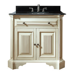 Avanity - Kingswood 36-inch Vanity Only - Old world, meet new world. This vanity has a distressed finish and fluted details to give it an antiqued look, but it's sleek, black granite top makes it modern. It's a great transitional piece for your guest bath or you can place two side by side in the master.