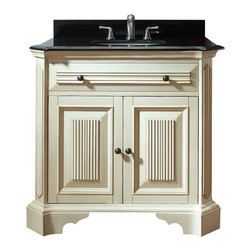 Avanity - Kingswood 36 in. Vanity Only - Old world, meet new world. This vanity has a distressed finish and fluted details to give it an antiqued look, but it's sleek, black granite top makes it modern. It's a great transitional piece for your guest bath or you can place two side by side in the master.