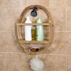 Teak Round Shower Caddy - Keep your soap, sponge, or shampoo close at hand with this oval-shaped Teak Wood Shower Caddy, which has two convenient hooks for wash towels or scrubbers.