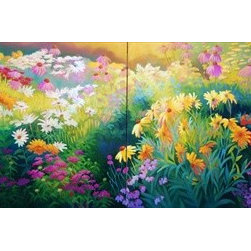 """My Garden (2 panels) 16x24 Print - """"My Garden"""" is a floral canvas giclee by Patrice Procopio.  This 16x24 canvas is gallery wrapped. We take the fine art canvas and stretch it over a wooden frame, adhering the canvas to the backside of the frame. The canvas actually wraps around the edges of the frame, giving your print the look of a fine piece of art, such as you might find in an art gallery. There is no need for a picture frame. Your piece of art is ready to hang or lean against a wall, or display on an easel."""