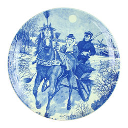 Chemkefa - Consigned Vintage Blue Delft Plate Charger Winter - Product Details