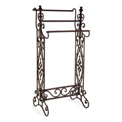 Home Decorators Collection - Elizabeth Narrow Quilt/Towel Rack - Featuring ornate details, this quilt rack makes a beautiful display piece. For showing off a family heirloom or for more practical uses like as a towel rack in your bathroom, its size makes it perfect for almost any living space.The wrought iron construction of this rack features a brown finish for lasting beauty. Buy yours today.