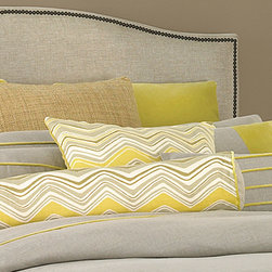 "Twyla Decorative Pillow - 22"" x 22"" Stripe - Generously sized and perfectly squared, the Twyla Decorative Stripe Pillow beautifully replicates the vivid color contrasts that impart charm and cheer to the  Twyla Bedding Collection. Soft gray like that of velvet mist at dawn and bold sun yellow create a pleasing bedscape accent as delightful as it is inviting. The simple design of the pillow allows the focus to remain on the vibrancy of the coloration. 22"" x 22"""