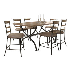 "Hillsdale Furniture - Hillsdale Charleston 7-Piece Counter Table Set with Ladder Back Stools - Hillsdale's Charleston collection beautifully combines a rustic desert tan wood finish with a dark grey metal and offers a multitude of choices to create the perfect dining group for your home. Starting with the chairs, you have the choice of three lovely designs: The X-Back chair combines a rustic desert tan top accent with a transitional metal X in the center of the back and a brown faux leather seat. The parson's chair is traditional in design and combines the rustic desert tan finish with the brown faux leather seat. The ladder back chair features 3 rungs in the desert tan finish, enhanced by the dark grey metal and brown faux leather seat. Now that you have decided on your chair, let's look at the table options: The stunning rectangle table features a wood top that is generously scaled to easily accommodate 6. The simple round table features a 48"" diameter wood top with flared metal legs. The round wood table is 48"" in diameter and features a wonderful metal accent on the base."