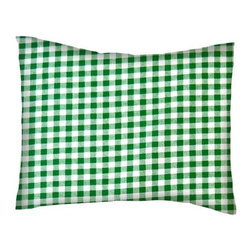 SheetWorld - SheetWorld Twin Pillow Case - Percale Pillow Case - Green Gingham Check - Pillow case is made of a durable all cotton percale/woven material. Fits a standard twin size pillow. Side Opening. Features a green gingham check print.