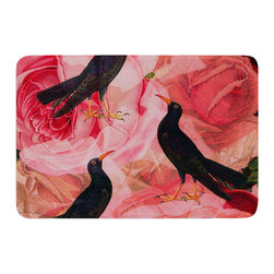 """KESS InHouse - Suzanne Carter """"Song Bird Cush"""" Red Black Memory Foam Bath Mat (24"""" x 36"""") - These super absorbent bath mats will add comfort and style to your bathroom. These memory foam mats will feel like you are in a spa every time you step out of the shower. Available in two sizes, 17"""" x 24"""" and 24"""" x 36"""", with a .5"""" thickness and non skid backing, these will fit every style of bathroom. Add comfort like never before in front of your vanity, sink, bathtub, shower or even laundry room. Machine wash cold, gentle cycle, tumble dry low or lay flat to dry. Printed on single side."""