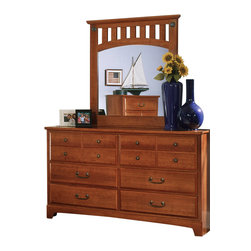 Standard Furniture - Standard Furniture City Park Dresser with Mirror in Cherry - City Park is a preservation of distinct craftsman looks. Extra deep storage space, including a sweater drawer in chest and dresser. Dresser drawers are double bluff cut to enhance design. The case pieces incorporate two different hardware designs to add visual interest. Multiple slats in bed and arched top rail above mirror showcase the craftsmanship of this appealing collection. Crowns on bed and mirror are enhanced with an ornamental metal rosette. The metal pulls are enhanced by an antique pewter color finish and brass color highlights. Cherry color and star pattern finish present a charming and captivating presence. Quality wood products bonded together creates durable construction throughout.
