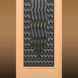 """""""Grace"""", Sculptural Glass Door - """"Grace"""" – A contemporary exterior door bringing light, charm, style and elegance to a front entry. Made to order from Sculptural Glass Doors, featuring unique kiln formed art glass set in fine wood doors. Choice of glass colors and other options are available."""