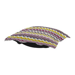 Howard Elliott Bolt Eggplant Puff Ottoman Cushion - Extra Puff cushions in Bolt are a great way to get a fresh new look without the expense of buying a whole new ottoman! Puff cushions fit Scroll ottoman frames. This Bolt cushion is an electric charge of vivid color and zig zag lines.