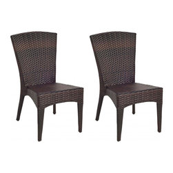 Safavieh - New Castle Wicker Side Chair - Effortlessly elegant summer entertaining starts with the right furnishings. And the chic fan-back and sculptured style of the Newbury Wicker Side Chair (sold in a set of two) makes cocktails and canapes under the sun or stars a sophisticated affair. Crafted with an aluminum frame and finished in a tiger stripe pattern, Newberry freshens the look and appeal of wicker for 21st century homes.