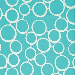 Schumacher - Sunglass Fabric - If you're obsessed with great design but like to use a softer touch at home, this indoor-outdoor fabric is a catch. A sea of interconnected circles in organic lines bubble across the pattern for a look that's cheerful but restrained. Add a burst of color to your office with an upholstered seat and footstool. There's a two-yard minimum order.
