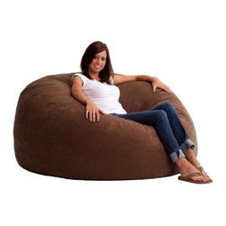 "Comfort Research - ""Comfort Research 5' King Fuf in Comfort Suede, Espresso"" - ""This is the chair that brought bean bags out of the 1970s and into the bedrooms and dorm rooms all over the world. The first one to use patented memory foam, the Fuf is one-of-a-kind. Spend five minutes on a Fuf and your body will thank you for it.Dimensions (W x L x H): 54"""" x 54"""" x 42""""Filled with super soft and long lasting fuf foam re-fuf again and again for custom comfortCovered in soft, durable fabricGreat for basements, bedrooms, dorm rooms, or even the family roomPlace it on its side for more of a lounge position or upright for more back supportAvailable in assorted sizes and colors"""