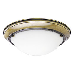 Progress - Progress Eclipse Flush Mount Ceiling Fixture in Antique Brass - Shown in picture: Close-to-ceiling fixture with satin-white glass.