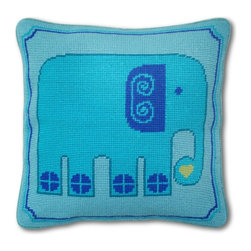 """Jonathan Adler - Jonathan Adler Elephant Needlepoint Pillow - Make sure junior never forgets how chic you are with our J'adorable Elephant Pillow.Granny gone wild!No longer granny's occupational therapy, we believe needlepoint is hipper than hip!• handmade 100% wool needlepoint• 12"""" x 12""""• velvet backed with hidden zipper• feather/down insert"""
