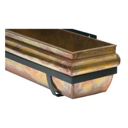 48-Inch Rustic Rectangle Copper/Wrought Iron Window Box - Set of 2 - The 48-inch Rustic Window Box - Set of 2 creates an instant cohesive look in any room. Decorate the front of your house with ease with these classic window boxes each constructed of copper metal that patinas over time to a soft green verdigris. Each box comes with black powder-coated wrought iron mounting brackets to allow you to mount it under windows or on wooden decks. These brackets also make removing the box easy for planting and care. Drainage holes in the boxes prevent excessive water accumulation.About H. Potter ProductsOver the past nine years H. Potter has continually enhanced all aspects of their business to fill the desires of their growing list of satisfied customers. With the entrance of 2006 they were able to offer over 100 impressive designs. Not only are they always striving to bring you products that are new bold and unique but they also work hard to increase the overall quality of the items. They do this by incorporating heavier materials stainless steel hardware and dramatically expanding their copper container business. H. Potter artisans design many 100% hand-made pieces to fit effortlessly into your home or garden setting.