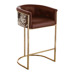 Kathy Kuo Home - Calvin Top Grain Brown Leather Hair Hide Leather Art Deco Bar Stool - Technically this is a barstool, however it has such a luxurious, buttery leather and antique brass finish to it, it feels more like a mid century chair in high heels.  Sophisticated, contemporary spaces will love this piece.