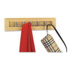 "Better Houseware Corp - Milano Hook Rack - 5 sleek chrome hooks framed in natural solid hardwood swing in and out when in use. Solidly built contemporary design. Perfect for hats jackets keys belts PJs etc.Mounting hardware included.Finish: Wood  4""h x 17.25""w x 1.25""d"