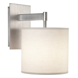 Robert Abbey - Echo Wall Sconce - Simple and sleek, this sconce features a fabric shade extending from its clean metal base. Filled with contemporary style, its versatile design will infuse modern character into your space.