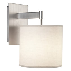 Robert Abbey - Echo Wall Sconce, Stainless Steel - Simple and sleek, this sconce features a fabric shade extending from its clean metal base. Filled with contemporary style, its versatile design will infuse modern character into your space.