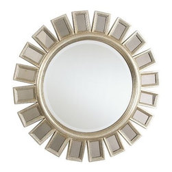 multi paned mirror - Sculptural and modern, this statement piece brings a burst of stylish energy to any room. The beveled circular center mirror, with beveled edge, is framed in aged silver leaf and surrounded by decorative panels of lightly antiqued mirror glass.