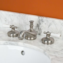 """Tullamore Widespread Faucet - Small Porcelain Lever Handles - Brushed Nickel - Classic """"Hot"""" and """"Cold"""" porcelain lever handles add the finishing touches to the elegant Tullamore faucet. Install this widespread lavatory faucet on your pedestal sink or vanity top for an eye-catching addition to your bathroom."""