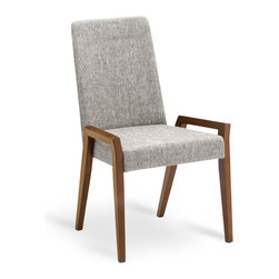 Bryght - 2 x Melvie Coral Fabric Upholstered Cocoa Dining Chair - Add a fun twist to a modern or a traditional dining table with the Melvie dining chair. Modern clean lines define the stand out leg design. Also available as an armchair.